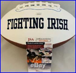IAN BOOK SIGNED NOTRE DAME FIGHTING IRISH LOGO FOOTBALL With JSA COA