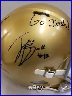Ian Book Autographed Notre Dame Full Size Riddell Replica Speed Helmet, WithCOA