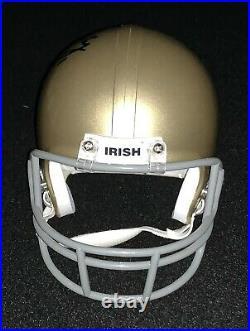Ian Book & Brian Kelly Signed Notre Dame Fighting Irish Mini Helmet COA