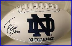 Ian Book Notre Dame Signed NCAA Logo Football COA