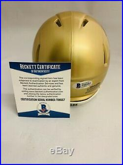 Ian Book Signed Notre Dame Fighting Irish Mini Helmet Auto+beckett Coa