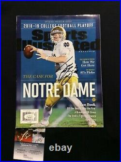 Ian Book Signed Sports Illustrated No Label Nl Notre Dame Football Jsa Coa