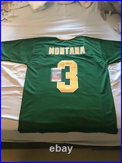 JOE MONTANA Autographed Signed Notre Dame Green College Custom Jersey JSA COA