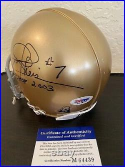 JOE THEISMAN Signed Auto Notre Dame IRISH Mini Helmet PSA/DNA COA HOF 2003