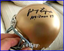 JOHNNY LUJACK SIGNED NOTRE DAME FIGHTING IRISH MINI HELMET With47 HEISMAN WithCOA