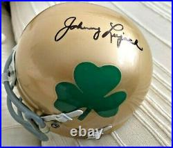 JOHNNY LUJACK SIGNED NOTRE DAME FIGHTING IRISH MINI HELMET WithCOA