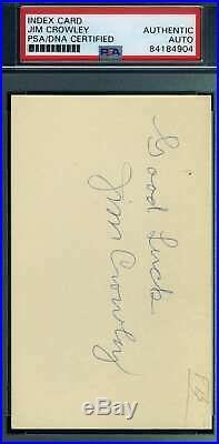 Jim Crowley NOTRE DAME 4 Horsemen PSA DNA Coa Autograph Signed 3x5 Index Card