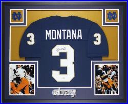 Joe Montana Autographed & Framed Blue Notre Dame Jersey Auto Beckett COA