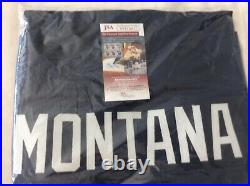 Joe Montana Autographed Notre Dame Custom Navy Football Jersey JSA COA