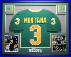 Joe Montana Autographed and Framed Green Notre Dame Jersey Auto JSA COA D8-L