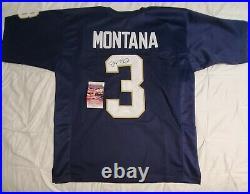 Joe Montana Signed Autographed Notre Dame custom football Jersey JSA COA size XL