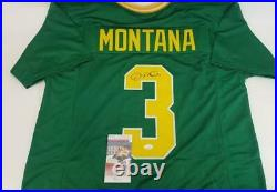 Joe Montana Signed Notre Dame Fighting Irish Custom Jersey (JSA Witness COA)