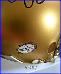 Joe Montana Signed Notre Dame Fighting Irish Mini Helmet With Inscription & Coa