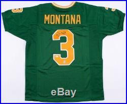 Joe Montana Signed Notre Dame Green Jersey JSA COA