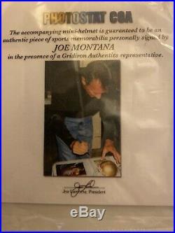 Joe Montana signed Notre Dame Fighting Irish mini helmet COA