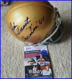 John Huarte JSA Coa Autograph Notre Dame Heisman Mini Helmet Hand Signed