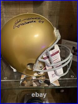 John Huarte Notre Dame, Heisman 1964 Jsa/coa Signed Full Size Helmet With Stand