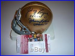 Johnny Lattner, Johnny Lujack Notre Dame, Heisman Jsa/coa Signed Mini Helmet