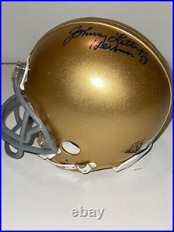 Johnny Lattner Notre Dame Heisman 1953 Signed Mini Helmet PSA/DNA COA