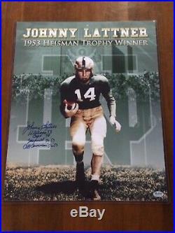 Johnny Lattner Signed 16x20 Notre Dame Heisman Photo with 4x Inscriptions SGC COA