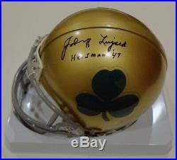 Johnny Lujack Signed Notre Dame Shamrock Mini Helmet Beckett Coa Bas Authentic