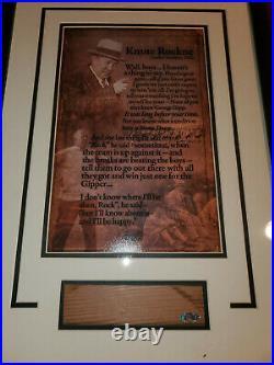 Knute Rockne Norte Dame Game Used Bench Cut Photo Framed Steiner COA Yankee Stad