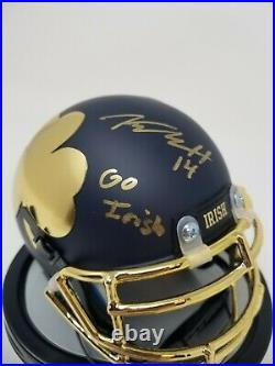 Kyle Hamilton Notre Dame Auto Signed blue Shamrock Mini Helmet JSA COA GO IRISH