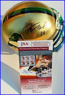 Kyle Hamilton Signed Notre Dame Fighting Irish Mini Helmet withJSA COA Witness #1