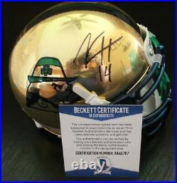 Kyle Hamilton Signed Notre Dame Irish Mini Helmet withBeckett COA AA45767 BAS
