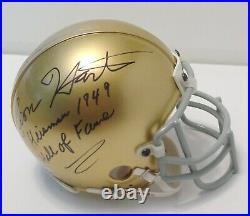 LEON HART Signed Autographed NOTRE DAME 1949 Heisman Mini Helmet BECKETT BAS COA