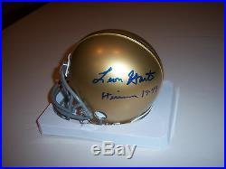Leon Hart Heisman, Notre Dame Fighting Irish Lbsports/coa Signed Mini Helmet