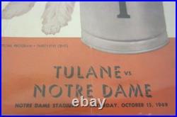 Leon Hart signed Tulane vs Notre Dame vintage football program 3 signatures COA