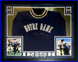 Lou Holtz Autographed Notre Dame Irish Sweater Steiner Coa Custom Framed Photo