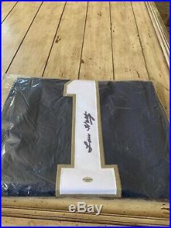 Lou Holtz Autographed/Signed Jersey LEAF COA Notre Dame Fighting Irish Coach