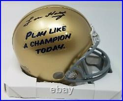 Lou Holtz Autographed/signed Notre Dame Irish Plact Mini Helmet Fanatics Coa