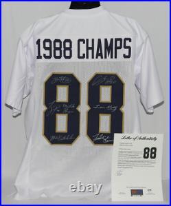 Lou Holtz & Notre Dame 1988 Champs Multi Signed Custom White Jersey COA 834