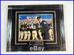 Lou Holtz Notre Dame Autographed Picture Custom Framed WithSteiner COA