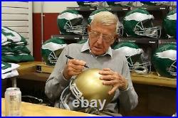 Lou Holtz Signed Notre Dame Fighting Irish FS Helmet Sweat Insc Fanatics COA 507