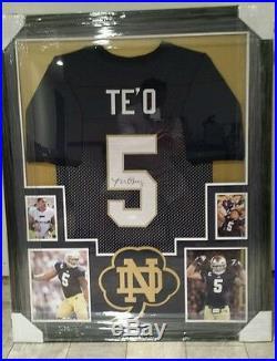 Manti Te'o Autographed/signed Notre Dame Custom Framed Jersey Jsa Coa Very Nice