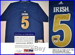 Manti Te'o Signed Notre Dame Fighting Irish Blue Adidas Jersey PSA/DNA COA