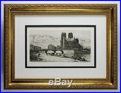 Marvelous Charles MERYON 1800s Etching View of Notre Dame Cathedral Framed COA