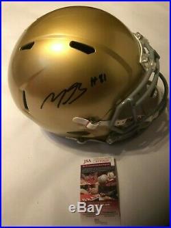Miles Boykin Autographed Full Size Notre Dame Speed Helmet JSA Witnessed COA