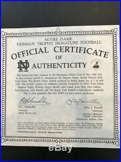 NOTRE DAME HEISMAN WINNERS Autographed Football MINT with COA and Display Case