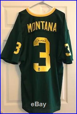 New Autographed Joe Montana Notre Dame Green College Football Jersey COA