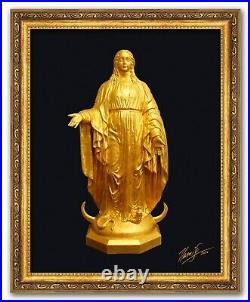 Notre Dame 15 Our Mother Sculpture Resin 23.75 KT Gold Leaf COA Artist Proof