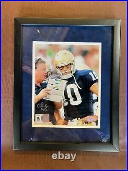 Notre Dame Fighting Irish CHARLIE WEIS Signed 8x10 Photo w Brady Quinn COA
