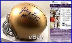 Notre Dame Fighting Irish Johnny Lujack Signed Mini Helmet 1947 Heisman JSA Auth