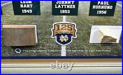 Notre Dame Framed Collage with Stadium Brick and Bench Pieces Steiner COA