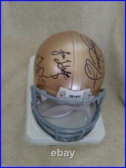 Notre Dame Multi (6) Signed Mini Helmet (COA)