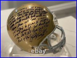 Notre Dame Rudy Ruettiger Autographed F/S Rep Helmet With Movie Inscription-with COA